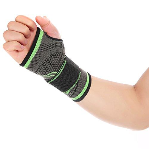 Vertvie damen Herren unisex Sport Handgelenkbandage Handgelenkschiene Handgelenkstütze verstellbare Handgelenkschoner Wrist Wraps für Alltag Fitness und Kraftsport (Grau+Grün, M(17cm -19cm))