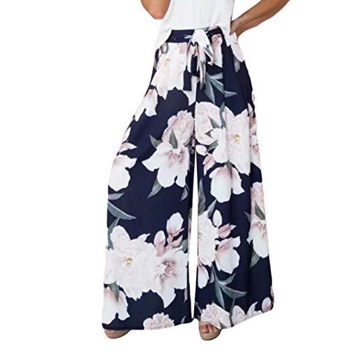 Damen Hose,Briskorry Damen Floral Bedruckt Beiläufige Haremshose Palazzo Hose Hohe Taille Lockere Hosen mit Weitem Bein Yogahose ()