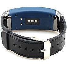 Samsung Gear Fit 2 Correa Pinhen cuero genuino pulsera de acero inoxidable elegante correa de la venda del reloj para Samsung Gear FIT2 SM-R360 (Black)