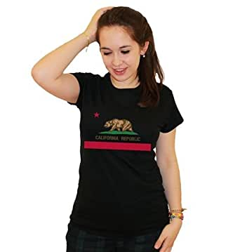 21 Century Clothing California Flag Damen T-Shirt - Schwarz - XX-Large