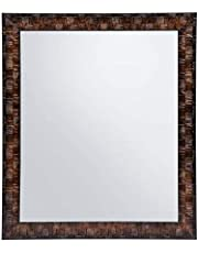 Creative Arts n Frames Brown Color Synthetic Fiber Wood Made Framed Mirror || Size - 10inch x 12inch || Shaving Beauty Makeup Hand Held Vanity Mirror || (Brown)