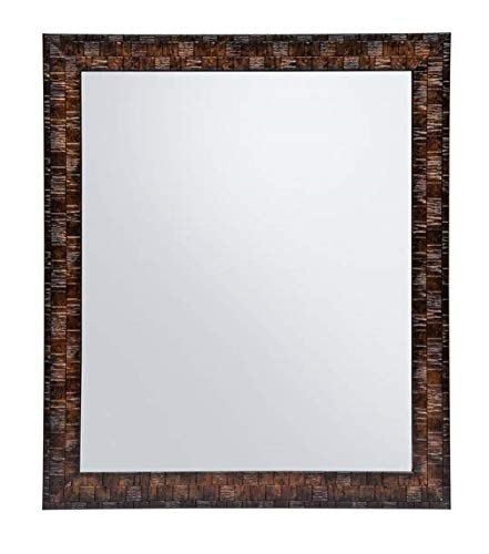 Creative Arts n Frames Brown Color Synthetic Fiber Wood Made Framed Mirror    Size - 10inch x 12inch    Shaving Beauty Makeup Hand Held Vanity Mirror    (Brown)