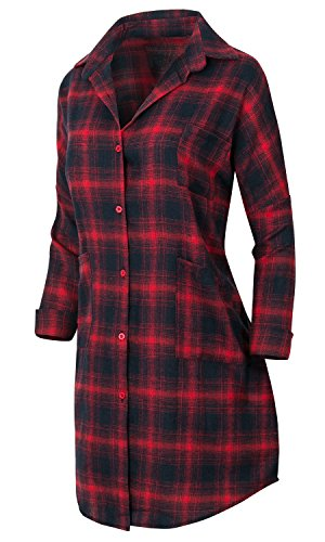 Howels Damen DROP Schulter lang Hemd kariert Hi-low Hemline über idealer Passform Duster , Red plaid (Plaid Duster)