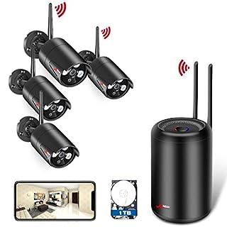 WLAN Drahtlose Überwachungskamera Set System, ANRAN 4ch 1080p Überwachungskamera Aussen WLAN mit 2.0MP WiFi IP Kameras, Draußen, Automatische Verbindung, Gratis Remote APP, 1TB Festplatte
