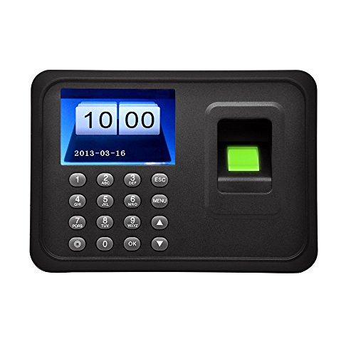 "Anself 2.4"" TFT Fingerprint Attendance Machine LCD Display USB Biometric DC 5V/1A Time Clock Recorder Employee Checking-in Reader A6 Test"