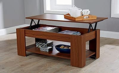 Modern Contemporary Exclusive Walnut Lift Up Coffee Table Living Room Centre Table Large Storage Area & Under Shelf