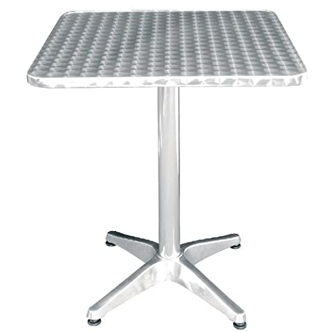 Bolero U427 Square Pedestal Bistro Table, Stainless steel Top, 600 mm, Silver