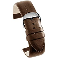 Minimalist Replacement Band Watch Band Leather Kalf Strap dark brown - without Seam 24428S, width:24mm