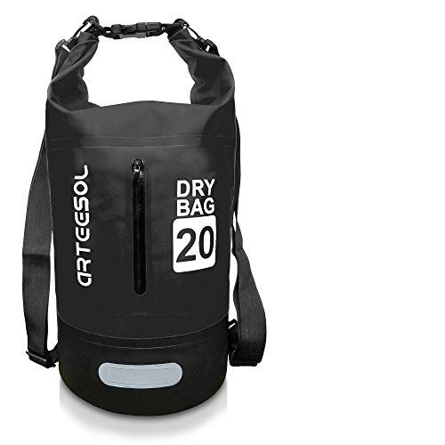 ARTEESOL Dry Bag - 5L/10L /20L /30L Wasserdichte Packsack/Trockentasche, Verstellbarer Schultergurt Inklusive, Geeignet für Kajak-, Boot-, Kanufahren/Angeln/Rafting (Schwarz, 30L)