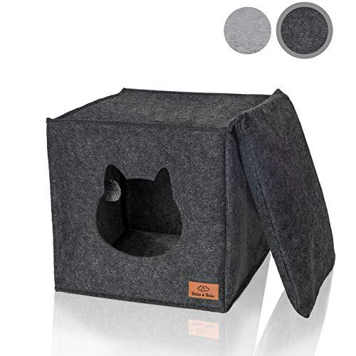 Amazy Filz Katzenhöhle inkl. Kissen + Spielzeug (ideal für Ikea Kallax und Expedit) – Faltbare Kuschelhöhle für Katzen zum Schlafen, Verstecken, Toben und Kratzen (Dunkelgrau)