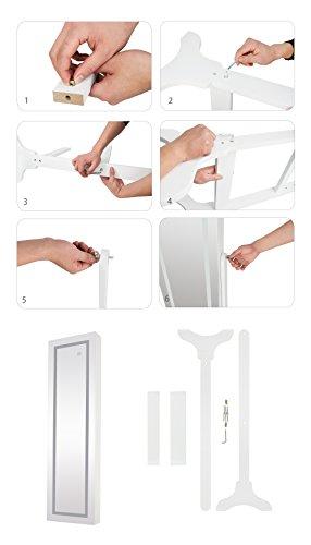 Ezigoo Spiegel Schmuckschrank Beleuchtet mit Touchscreen LED Licht - Schmuckregal mit Ganzkörperspiegel - 9