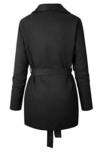 Les Femmes De L'hiver En Laine Collier Occasionnels Trenchcoat Vêtements Avec Ceinture. Black
