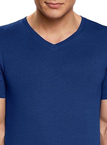 oodji Ultra Herren Tagless T-Shirt Basic mit V-Ausschnitt Blau (7500N)