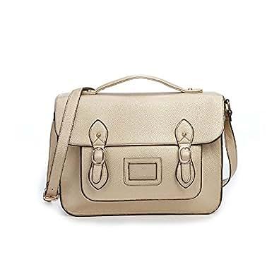 Vintage Large YASMIN BAGS 13.5'' Unisex Faux Leather Satchel/Cross Body Bag - with FREE trolley/locker coin keychain (12345 Beige)