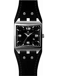 Alpha Saphir 319A - Reloj de caballero de cuarzo, correa de piel color negro
