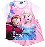 Frozen - Die Eiskönigin Mädchen Schlafanzug ELSA Pyjama (Weiß-Rosa, 104-110)
