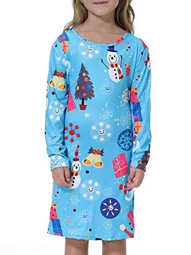 BesserBay Mädchen Kleider Weihnachten Langarm Kleid Geschenk Festlich Partykleid A-Linie Kleid