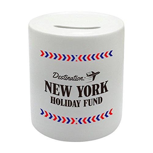 BS022nueva york Holiday Fund Hucha de cerámica regalo impreso dinero caja de ahorro