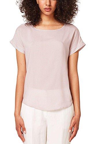 Esprit Kurzarm-bluse (ESPRIT Damen 058EE1F011 Bluse, Mehrfarbig (Blush 665), 44)