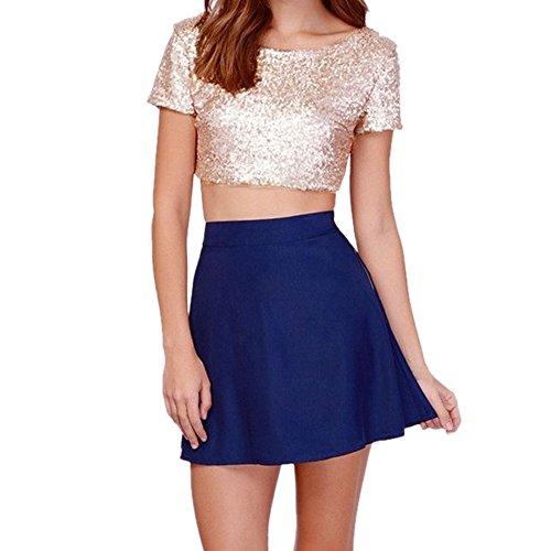 Chnli Women/Girl Short Sleeve T-Shirts Moulante Tops Col Neck Glitter Sequins Blouse Casual Shirt Spring Summer (6-8, Gold)