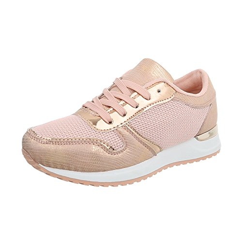 Ital-Design Freizeit Turnschuhe/Sneakers Kinder-Schuhe Freizeit Turnschuhe/Sneakers Mädchen Schnürsenkel Freizeitschuhe Rosa, Gr 33, 66-07-