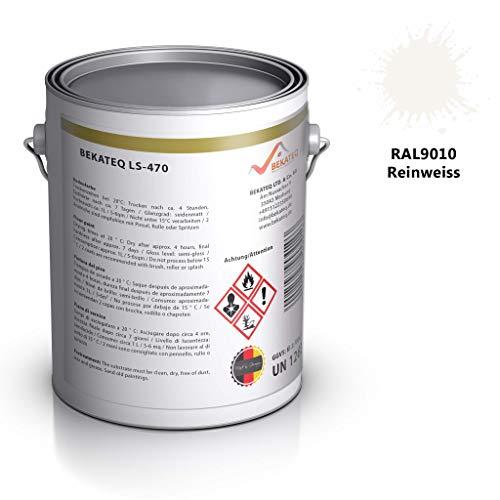 Beton-stein (Bekateq LS-470 PU Bodenfarbe, seidenmatt RAL9010 Weiss 2,5l, 1K Betonfarbe zur Beschichtung und Versiegelung von Beton, Mauerwerk, Stein, Putz)