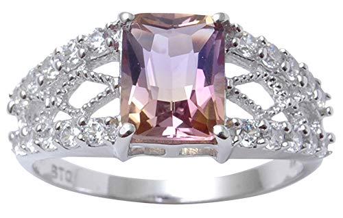 ingsilber elegante indische Art und Weise Ametrine Edelstein-Ring Frauen Schmuck-60 (19.1) ()