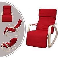 Sedia a dondolo imbottita in stile moderno, rosso