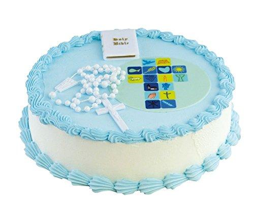 Feste Feiern zur Kommunion I essbarer Torten-Deko Fondant Aufleger Jungen hellblau I Rosenkranz Bibel Kunststoff