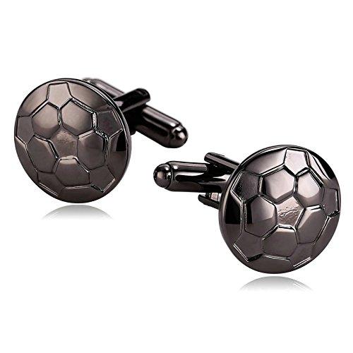 Anyeda gioielli gemelli classico incisa per uomo acciaio inossidabile calcio mondiale di calcio styling tondo nero regali aziendali di nozze 1.7 * 1.7cm