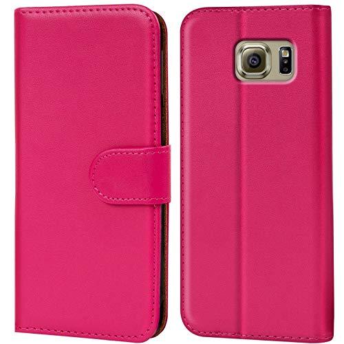 Verco Galaxy S6 Edge Hülle, Handyhülle für Samsung Galaxy S6 Edge Tasche PU Leder Flip Case Brieftasche - Pink