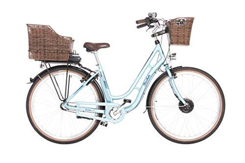 """Fischer Unisex - E-Bike Retro ER 1804 (Modelljahr 2018), Hellblau, 28\"""", RH 48 cm, Vorderradmotor 20 Nm, Shimano Nexus 3-Gang Nabe mit Rücktrittbremse, LED 300, 36 Volt Akku"""