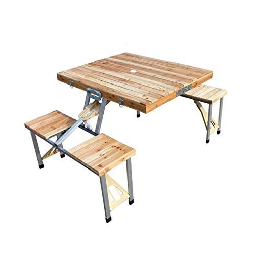 zyy Faltender Kampierender Tisch Im Freien, Massivholz-Stück-faltender Tisch Und Stuhl-tragbarer Feldauto-Tisch