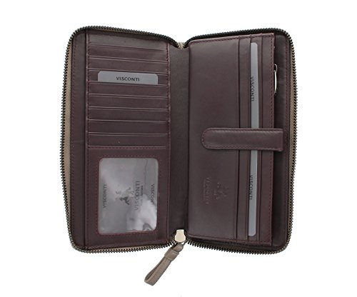 Zip in pelle Visconti Quilt Collection OPAL Intorno borsa QT82 Talpa / Borgogna Taupe/Burgundy