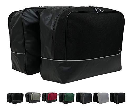 Beck Design Fahrrad Gepäckträger Tasche 40L wasserdicht, Fahrradtasche für hinten, Radtasche Doppeltasche - 2 Taschen (Schwarz)