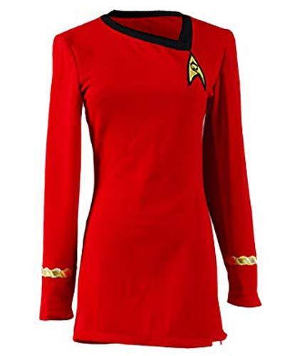 Manfis Uniform Kleid TOS Kostüm Rot Damen- Langärmliges, Festes T-Shirt-Kleid mit O-Ausschnitt
