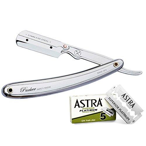 Parker 31R-Professionelles Rasiermesser aus Edelstahl und 5Klingen ASTRA Superior Platinum (Green)