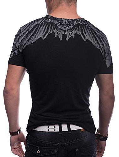 Herren Print T-Shirt Eagle Feather ID1381 Weiß