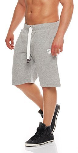 Gennadi Hoppe Herren Sweat Short Cotton Sweat Short Kurze Hose Bermuda Sweatpant Sport Shorts,Hellgrau,3XL