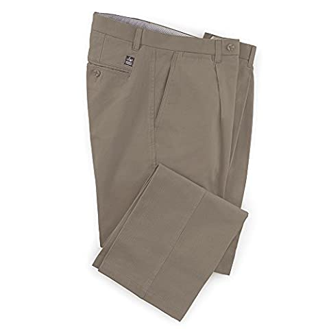 Samuel Windsor Men's 100% Pure Cotton Twill Pleated Chino Trousers in Sand, Taupe, Brown, Navy, Grey, Ink, Khaki and Dark