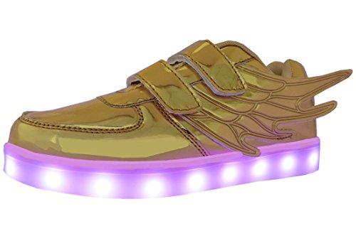 Flügel Schuhe, WINNEG Jungen Mädchen USB Aufladen 7 Farbe Led Turnschuhe (36 EU, Gold)