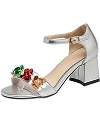 AIYOUMEI Damen Knöchelriemchen Sandalen mit 5cm Absatz und Blumen Blockabsatz High Heels Bequem Schuhe so5rUu5