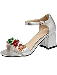 AIYOUMEI Damen Knöchelriemchen Sandalen mit 5cm Absatz und Blumen Blockabsatz High Heels Bequem Schuhe
