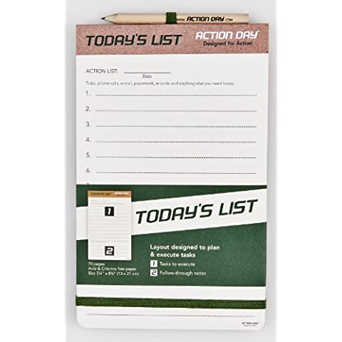 Action Day - Today´s List Pad - Size 5x8 - Layout Designed to plan & execute tasks