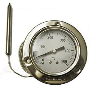 Ricel Sud – 1 termómetro 500 ^ grados de sonda flexible – largo 160 cm – para horno de leña, barbacoa