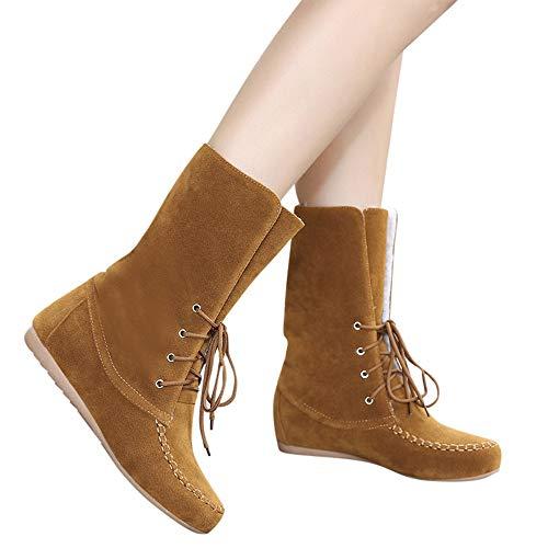 Stivali donna,meibax -30%,stivali da neve scamosciata in peluche scarpe bassi stivali caldi stivale corto invernali anfibi donna invernaletaglie forti,stivaletti donna,nero,marrone,35-40