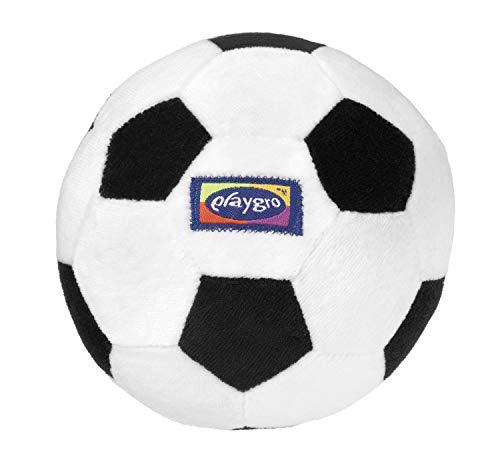 Playgro Mein erster Fußball, Mit integrierter Rassel, Ab 6 Monaten, My First Soccer Ball, Schwarz/Weiß, 40043