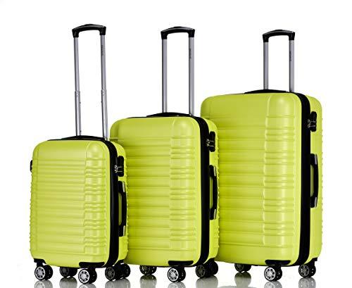 BEIBYE 2088 Zwillingsrollen Reisekoffer Koffer Trolleys Hartschale M-L-XL-Set (Green, Set)