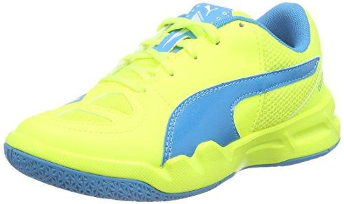 Puma  evoSPEED Indoor 5.4 Jr, Chaussures de Football mixte enfant - Jaune - Gelb (safety yellow-atomic blue-white 03), 34