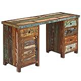 Festnight Schreibtisch | Holz Computertisch | Vintage Bürotisch | Retro Arbeitstisch | Massives Altholz 140 x 50 x 77 cm